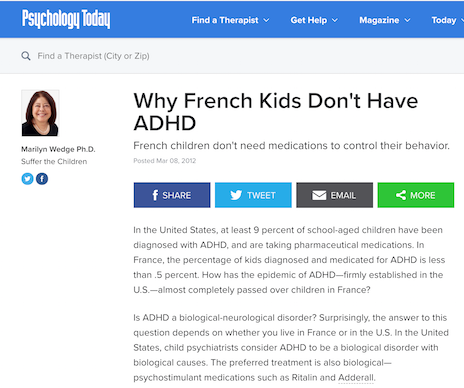 French Kids Have ADHD
