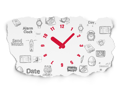 Timeline concept: Painted red Clock icon on Torn Paper background with  Hand Drawing Time Icons, 3d render