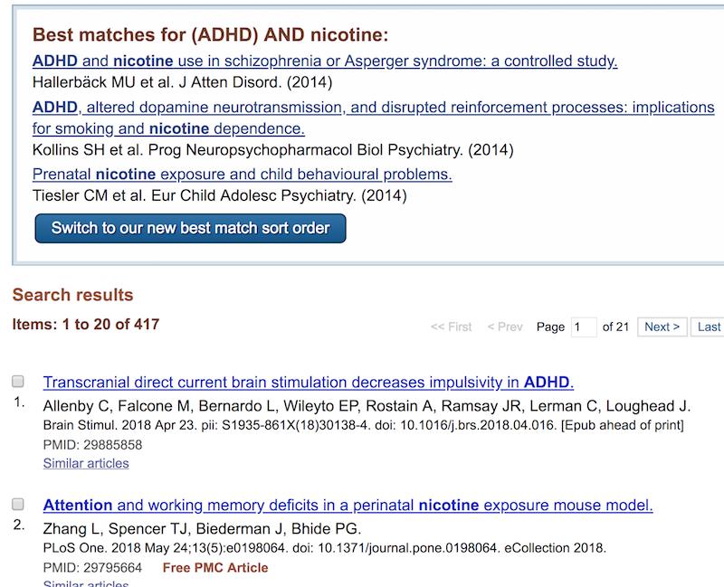 ADHD & nicotine